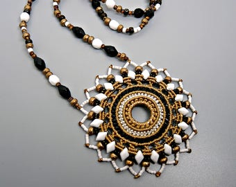 Tribal Micro Macrame Mandala Necklace  - Micro Macrame Necklace -Macrame Jewelry  - Black, White and Tan