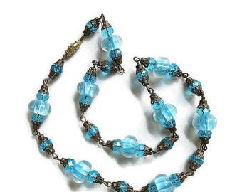 Blue & White Murano Venetian Necklace Art Glass and Crystals Filigree Vintage Single Strand