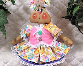 "Primitive Raggedy Smaller 17""~Easter/Spring~""BrEE BuNNy""~Vest~Petticoat!"