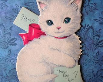 Vintage 1950 Flocked Greeting Card White Norcross Kitten Blue Rhinestone Eyes