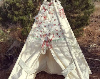 Floral Teepee with Lace – Beautiful Pink & White Teepee for Girls Room or Shabby Chic Nursery Featuring Vintage Fabric