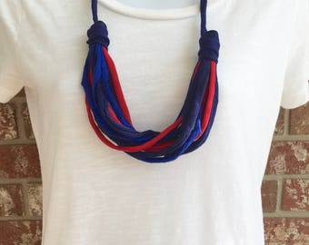 Red and Blue Fabric Necklace, Fabric Statement Necklace, Tshirt Yarn, Upcycled Jewelry, Repurposed Jewelry
