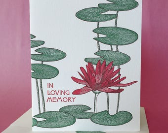 Water Lily, Lily Pad Sympathy Card