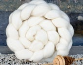 ILE DE FRANCE Wool Roving Combed Top Natural Ecru White Roving Spinning, Needle Felting, Dyeing Fiber - 4 oz