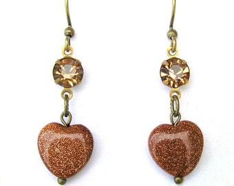 Heart Earrings, Goldstone Heart Earrings