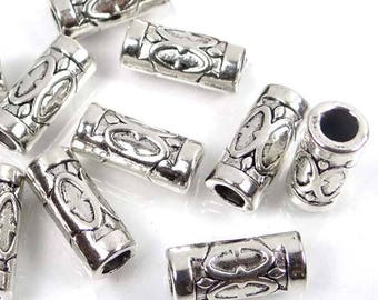 15 Antique Silver Pewter Tube Space 13x5mm Beads (p061)