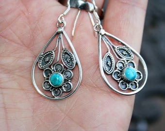 Sale...Earrings  Sterling Silver floral / flowers with Turquoise stone -just   Stunning