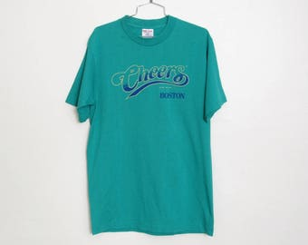 Vintage 1994 Cheers Boston T-shirt / Teal Colored Cotton / 90s Unisex Tee