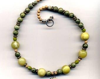 Jade Goddess Necklace, Female Bodhisattva Necklace, Jasper Female Buddha Necklace, Earth Goddess Necklace, Women Power Necklace by Annaart72