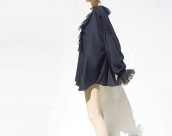 Vintage Poet Blouse Ruffled Poet Blouse Black Poet Blouse Black Chiffon Blouse Black Tunic Oversize Mini Dress Black Mini Dress os s m to xl