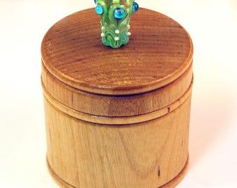 Elegant Little Wood Box with Green Lampwork Glass Knob/Finial