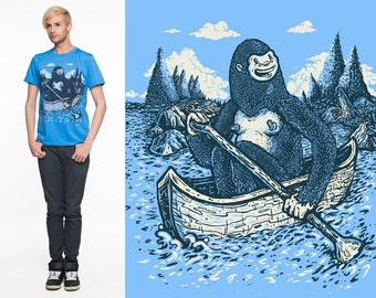 Paddlin Yeti - Hand printed T-shirt - Made in Canada - Heather Blue
