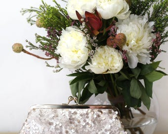 Blush Champagne Sequins (assorted) Tulle Clutch | Bridesmaids | Mother's Clutch