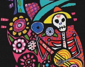 Mexican Folk Art Cross Stitch KIT, Heather Galler Design,  Modern Abstract Stitching, Anatomy Cross Stitch, Heart Counted Cross Stitch,