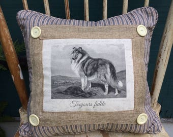Collie Dog Pillow| French Country Decor | Farmhouse Decor | Linen Print on Pillow | Vintage dog art on pillow