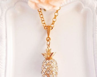 Pineapple Necklace - Gold - Fruit Jewelry - Tropical - TIKI