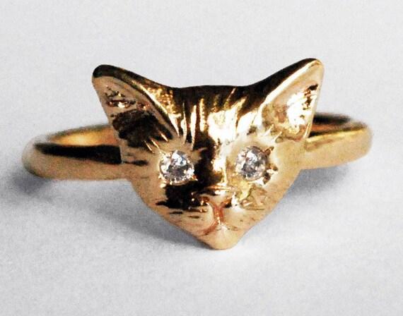 Yellow Gold Kitty Cat Ring with White Diamond Eyes
