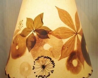 Mushroom Spore Print Lampshade, Pressed Botanical Lampshade, Tan Clip Top Shade, Rustic Woodland Style Lampshade, Small Table Lamp Shade