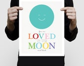 to the moon and back nursery print, moon print, moon art space nursery decor, moon wall art, turquoise nursery, artwork moon, kids wall art