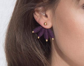 Lace ear jackets earrings - LUNAR ECLIPSE - Black, burgundy, indigo or teal lace with gold or silver details