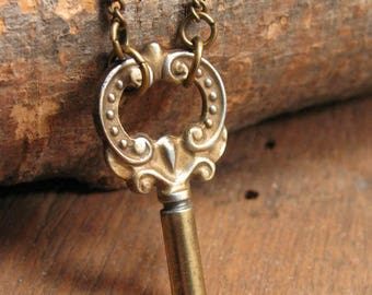 Skeleton Key Jewelry - Key Necklace - Fancy Vintage Brass Barrel Type Skeleton Key Simple Necklace - Pretty Key Necklace with Lots of Detail