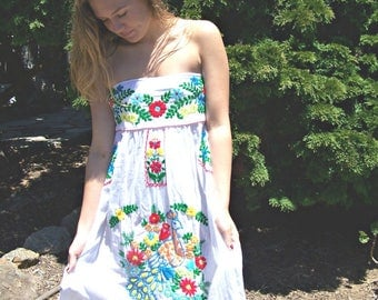 Mexican Dress, Strapless, White Mexican dress, Embroidered dress, Cotton, Frida Kahlo dress, size S