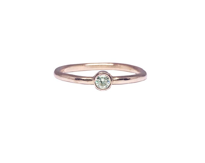Rose Gold Solitaire Diamond Engagement Ring _Wishing Star Love Ring