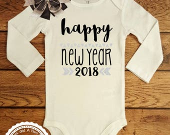 New Years Eve Outfit- Baby Infant Toddler Kids Shirt- Happy New Year 2018 Shirt- Celebrate New Year Black and Silver Fancy Shirt- #058