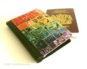 Rainbow Passport Cover - World Travel Postage Stamp Print Gift