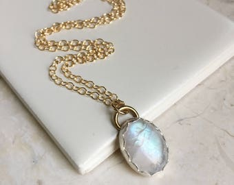Oval Rainbow Moonstone Pendant. Simple Necklace. Long Gold Fill Chain. Rainbow Moonstone. Modern Boho Style. One of a Kind Stone Necklace.