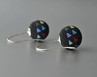 OOAK big sphere Statement earrings black