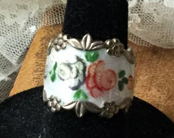 Romantic Hand Painted Guilloche Enamel Signed Sterling Two Rose Cigar Band Ring Size 7 Gold Wash Vermeil Pink Blue Flowers Floral Fancy Edge