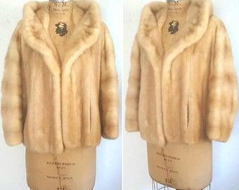 SALE Blonde Mink Fur Stole Jacket / bridal wedding coat / Small