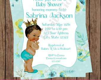 Custom Printed Floral, Shabby Chic, Antique, Vintage, Select hair/skin color, Turquoise Royal Prince Baby Shower Invitations