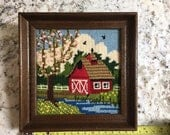 Vintage Needlepoint Crewel Embroidery Cross Stitch Wall Art, Red Spring Barn, Rustic Cottage Farmhouse Home Decor, Wood Frame, Ready to Hang