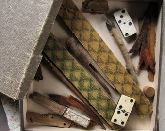 found object collection - antique and vintage junk drawer lot in an old papered box - assemblage and mixed media supply