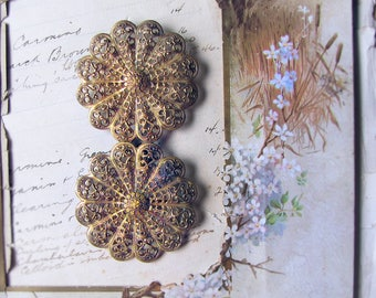 antique belt buckle - large vintage filigree brass flower medallions with hook clasp - circa 1900 1910