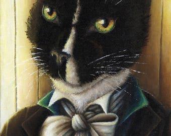 Mr Darcy Tuxedo Cat, Pride and Prejudice Cats 5x7 Fine Art Print