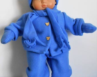 """Blue fleece snowsuit with hat, scarf,  boots and mitts for 15"""" dolls like Bitty Baby boy or girl"""
