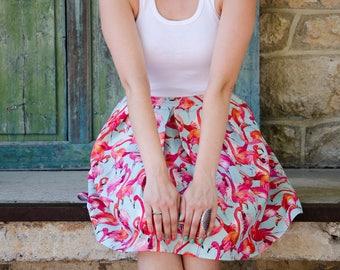 Flamingo Skirt, Mini or Knee Length Skater Skirt, Pink Flamingo Summer Skirt, Custom Made Prom Party Picnic Skirt