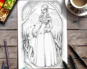 Coloring Page for Adults | Grayscale Art | Princess Fairytale Illustration