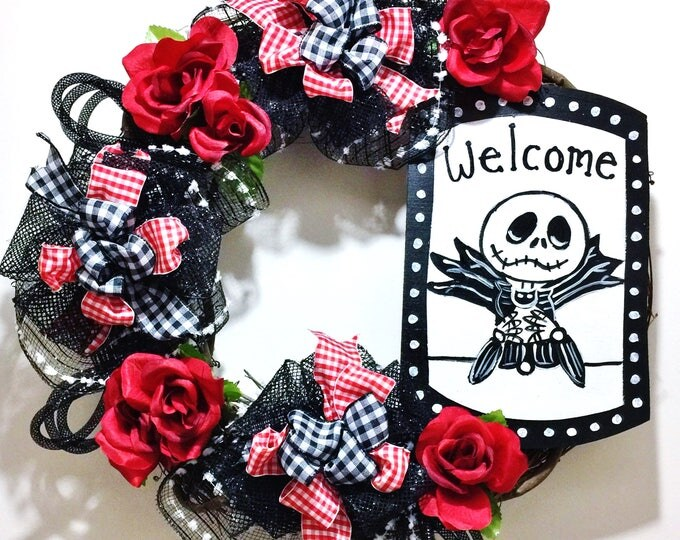 FREE SHIPPING Jack Skellington Black White Roses Red - Every Day Welcome Door Grapevine Wreath