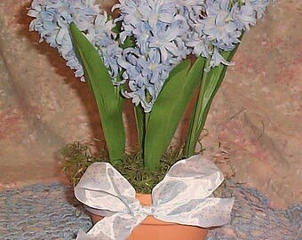 Light Blue Hyacinth Silk Flower Arrangement made by Ondines Creations
