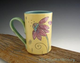 Pottery Mug - He Loves Me Inscribed - Coffee Mug - Echinacea Flower Mug - by DirtKicker Pottery