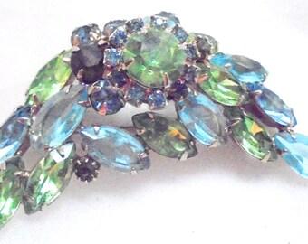 Vintage Juliana Pin Brooch Green, Blue Rhinestones