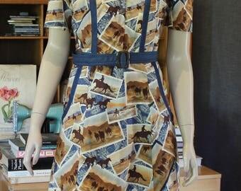 1940's Styled Vintage Dress / forties / swing style / handmade / cotton / vintage pattern / bowling dress / OOAK / WW11 /classic / 40's