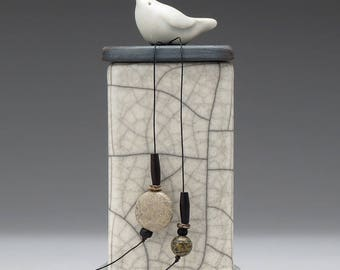 Ceramic box, Bird ,white, black, ceramic Raku Fired Box, handmade treasure box,home decor