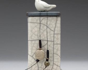 Ceramic box, Bird ,white, black, ceramic Raku Fired Box, handmade treasure box,home decor