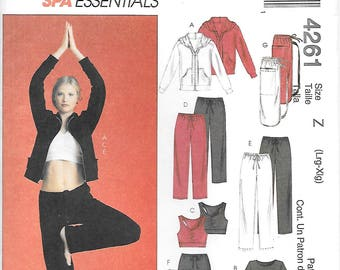 McCalls 4261 UNCUT Spa Essentials Yoga Clothes Sewing Pattern Sizes Large XLarge Hoodie Stretch Pants Bra Skirt Top