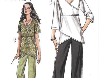 Vogue 8402 UNCUT Assymetrical Mock Wrap Tunic and Pants Sewing Pattern Sizes 8 to 14